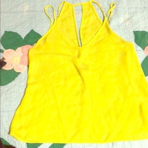 Highlighter yellow double strapped sheer top
